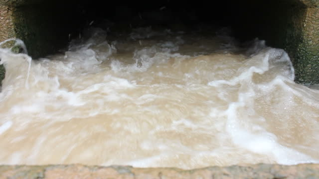 HD of flowing water in the concrete.