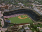 AERIAL of full Wrigley Field Stadium during baseball game / Chicago