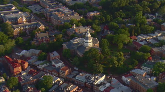 MS AERIAL ZO DS MCU of Maryland State House with historic district of Annapolis / Annapolis, Maryland, United States