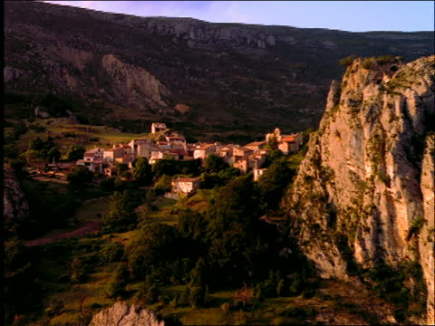 AERIAL of mountain village (Rougon) / Provence / near Gorges du Verdon