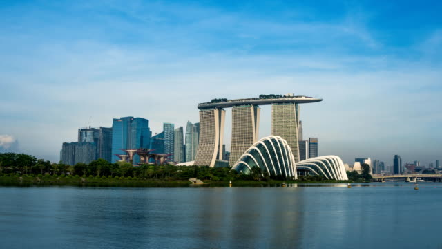 TL of Singapore central business district (CBD) cityscape skyline at Marina Bay from Garden by the bay EAST