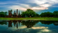 TL D2N WS LD of Sukhothai Historical Park, Mahathat temple reflecting in water
