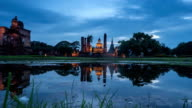 TL D2N WS PL of Sukhothai Historical Park, Mahathat temple reflecting in water