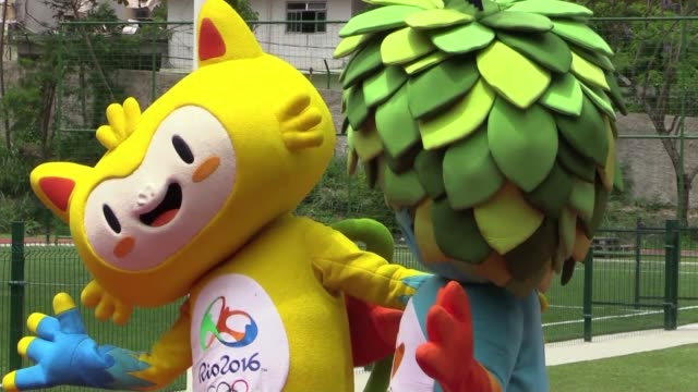 STOCKSHOTS of the Rio 2016 Olympic Games mascot the Olympic rings torch and branding