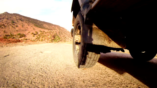 Off road in desert in Africa. Tread on the tire close-up.