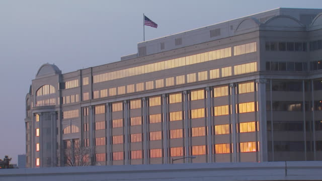 Office building at sunset, USA