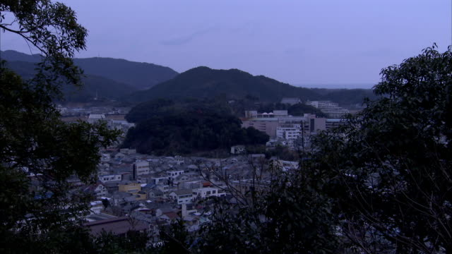 Office buildings surround a hill in the valley of Okayama, Japan. Available in HD.