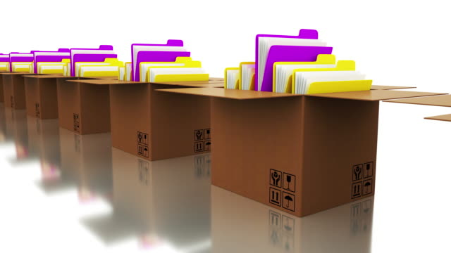 Office Document Folders and Cardboard Boxes