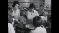 official interviews Cyclone Tracy evacuee with paperwork / Salvation Army cafeteria / Jungle Jacks breakfast cereal poured for young boy / Salvation...