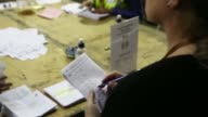 Officials count ballot papers for the Scottish independence referendum at the Royal Highland Center in Edinburgh UK on Thursday Sept 18 An official...