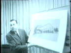 Officials meet to discuss and look at plans for the 1959 Chicago International Trade Fair In July 1959 the Chicago Association of Commerce with the...