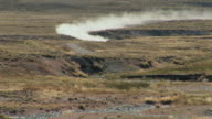 LS WS ZI Offroad rally car speeding across desert / San Martin de Los Andes, Rio Negro, Argentina