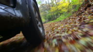 Off-Road Vehicle Driving Through Autumn Forest