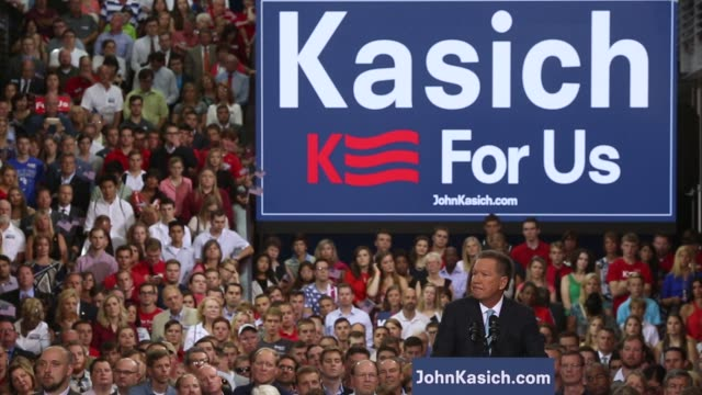 Ohio Governor John Kasich delivers remarks announcing his bid for the 2016 Republican presidential nomination during an event at the Ohio State...