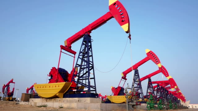 Oil pump on see in shandong,china, 4k