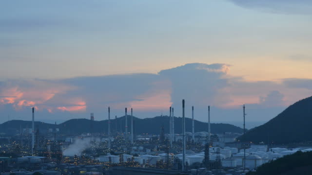Oil refinery at twilight factory petrochemical plant