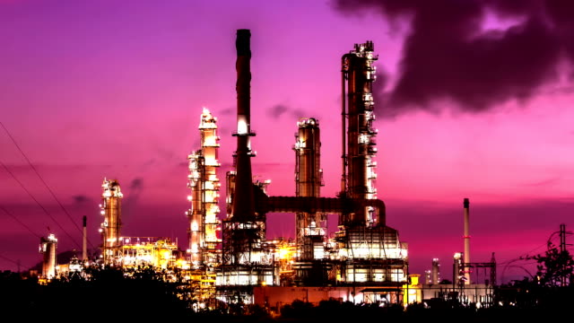 oil refinery at twilight morning,time lapse