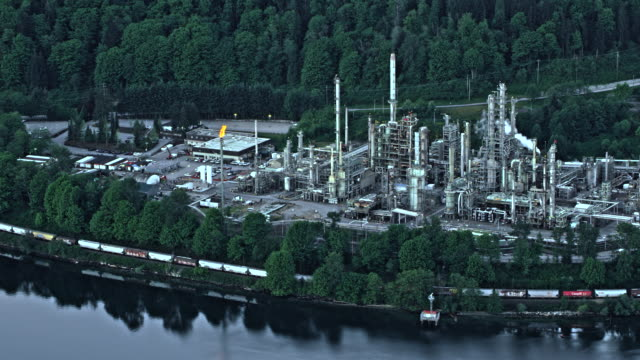 AERIAL Oil refinery in Vancouver, Canada