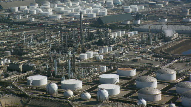 Oil refinery operation in the city of Carson, located in Los Angeles County, California.
