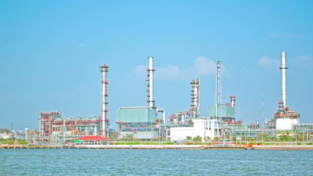 Oil Refinery ,Panning Shot