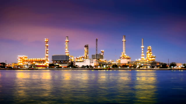 HD: Oil Refinery Plant and tanker Working at dusk