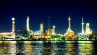 Oil Refinery Plant and tanker Working at dusk