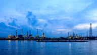 oil refinery plant at dusk, night to day timelapse