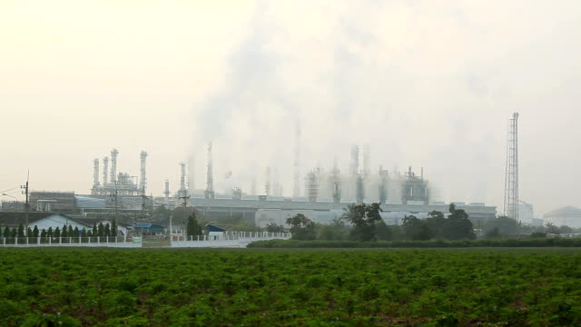 Oil Refinery Plant Working sunrise