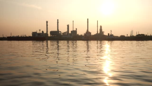 Oil Refinery Station at morning, Thailand.