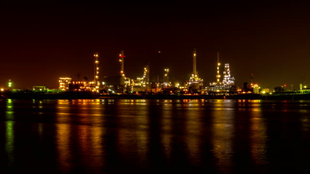 Oil Refinery Station at morning, Thailand. (Time Lapse)