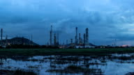 Oil refinery time lapse day to night