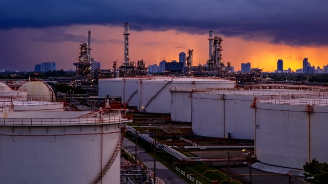 Oil refinery time lapse.