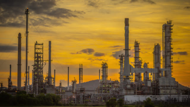 Oil refinery time lapse