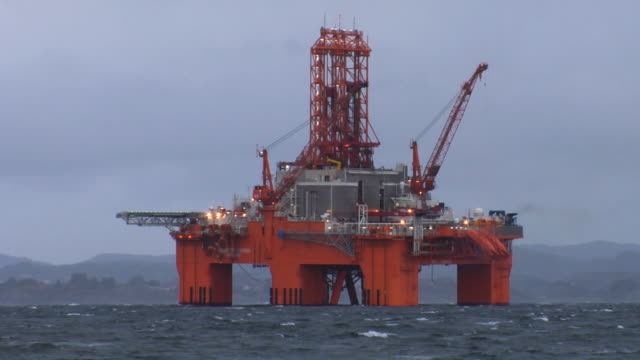 Oil rig in storm