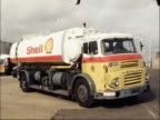 Oil shortage due to blockage of supplies from Iran ENGLAND West Midlands Walsall GROUND TO AIR Jet liner takes off Shell tanker LR Students RL at...