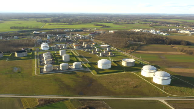 AERIAL Oil tanks with surrounding settlements