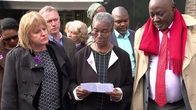 Police officers cleared of gross misconduct T09051745 / Croydon South London Coroner's Court EXT Ajibola Lewis speaking to press SOT Westminster The...