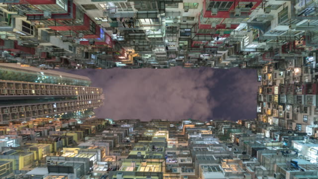 old apartment building in hong kong with sky,Panning right Video.