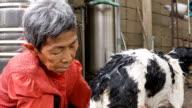 Old asian woman outdoor activities