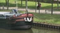 MS Old cargo vessel on river Saar / Saarbrücken, Saarland, Germany