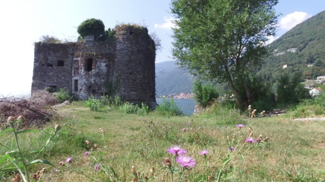 Old Castle on an island in a lake.