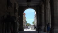 Old Havana, Cuba: Zoom Out Toward the Porch of the Palace of the Captain Generals