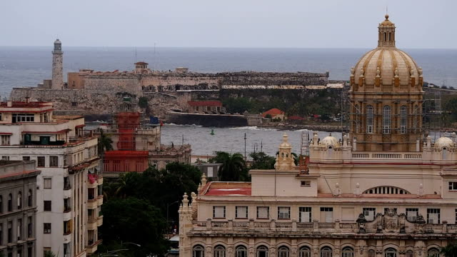 Old Havana, View of Morro Castle and Museo de la Revolucion (former Presidential Palace)