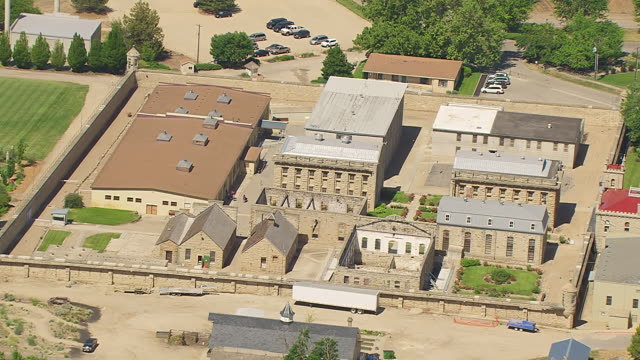 MS AERIAL ZO Old Idaho Penitentiary and reveal complex / Boise, Idaho, United States