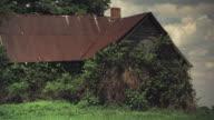 T/L MS Old overgrown farm house, Iowa, USA