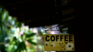 Old retro fresh coffee sign.