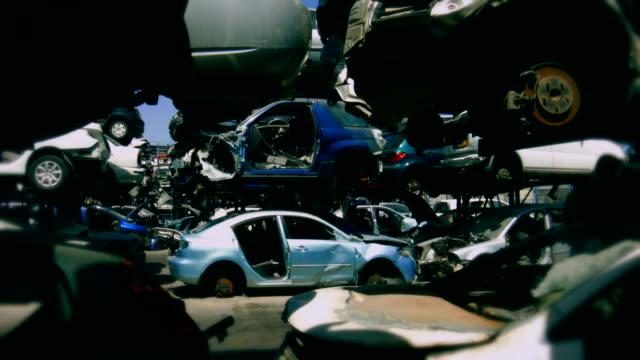 Old roken cars at junkyard
