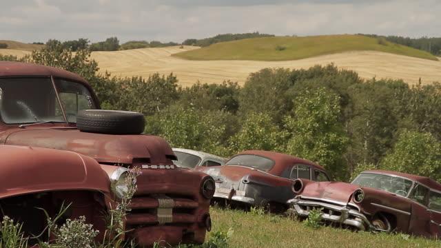 Old rusty cars in a scrap car field