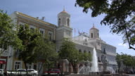 WS Old San Juan City Hall (Casa Alcaldia) with fountain in foreground, Plaza de Armas, Old San Juan, Puerto Rico, USA