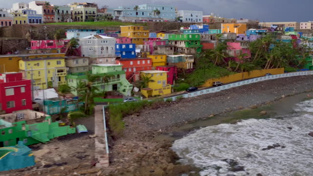 Old San Juan Puerto Rico devastation drone point of view Raw footage
